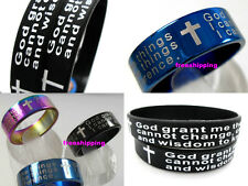 36 in 1 Silicone Serenity prayer english cross bracelets Rings JEWELRY wholesale