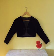 Size 12/14 black fitted Victorian/vintage/military look velvet cropped jacket