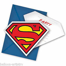 6 DC Comics Metropolis SUPERMAN Children's Party Invitations plus Envelopes
