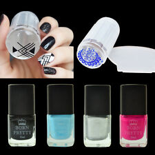 BORN PRETTY Nail Art Kit Black Silver Stamping Polish Set & Stamper Scraper DIY