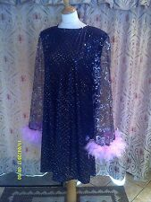 Drag Queen  Black/Silver sequin, glitter SHORT dress with pink feathers  20/22