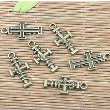 20pcs antiqued bronze color cross shaped design pendant G1931