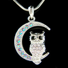 w Swarovski Crystal ~Purple Owl on Moon Hoot Bird Halloween Charm Chain Necklace