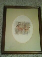 Mads Stage Danish Artist Watercolor Fallow Deer Vtg Print 18X22 Framed-Matted
