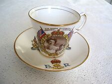 VINTAGE SALISBURY CHINA 1953 CORONATION CUP & SAUCER---QUEEN WITH HER CHILDREN.