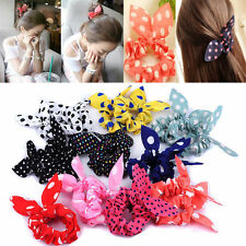 10Pcs Girl's Fashion Rabbit Ear Hair Tie Bands Accessories Ponytail Holder