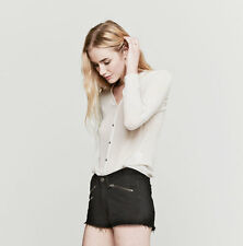 RAG AND BONE COAL BLACK ZIP DENIM SHORTS W26 UK 8