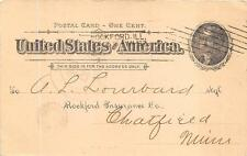 SCOTT UX12 POSTAL CARD ROCKFORD ILLINOIS INSURANCE COMPANY BARRY CANCEL 1897