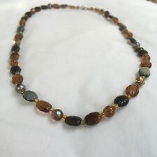 Vintage Retro Art Deco Banded Agate Glass Brown Black Grey Necklace 18 in Prom