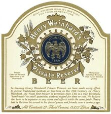 Henry Weinhard's Private Reserve Beer Label