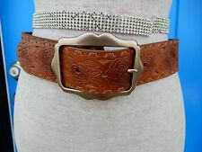 FOSSIL Sz Medium Brown Leather Belt Tooled Floral Flower Boho Unique Artsy GREAT