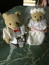 VINTAGE SYLVANIAN FAMILIES - BEAR /WEDDING /BRIDE & GROOM --COLLECTABLE- RARE