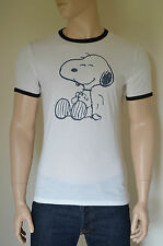 NEW Abercrombie & Fitch Snoopy Peanuts Graphic Ringer Tee T-Shirt White M