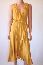 Haute Hippie Mustard Buff Sleeveless Keyhole Back Wrap Silk Dress
