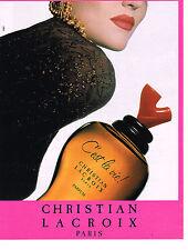 """PUBLICITE ADVERTISING 064  1992  CHRISTIAN LACROIX   parfum  """" c'est la vie''"""