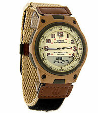 Casio Men's Combo Data Bank Watch, Tan Nylon Strap, 3 Alarms, AW80V-5BV