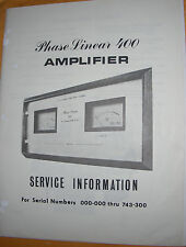 PHASE LINEAR PL 400 AMPLIFIER SERVICE MANUALS