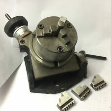 """Precision 4"""" (100 mm) Tilting Rotary Table 3 Slots+ 80 mm-3 Jaws Self Centering"""