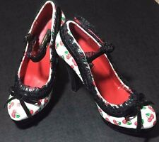 Pinup Girl  High Heel Pumps Lolita Rockabilly Mary Janes Cherries Velvet Heels 6