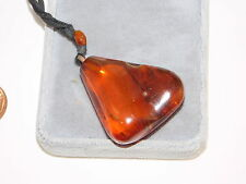Old Baltic Amber Free Form Nugget Pendant Black Ribbon Cord Necklace OLD 4e 80