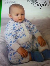Style Knitting Pattern For Baby's 2 Colour Jacket & Trousers In D.K.-16-24ins