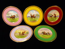 SET OF FIVE HAND PAINTED MINTON POLO PLATES SIGNED BY JAMES EDWIN DEAN - C 1895