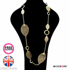 NEW GOLD LEAFS CHAIN DROP STATEMENT NECKLACE CHAIN WOMENS FESTIVAL MULTILAYER
