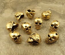 10 Gold Tone Pewter Beads - 12mm SKULL with 1.4mm Vertical Hole  - 5177