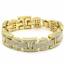 "Men's Gold Plated H Thin Link Iced Out Clear Cz Stones Hip Hop Bracelet 8"" Inch"