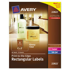 Avery Rectangle Print-To-The-Edge Labels, 2 X 3, Clear, 80/pack