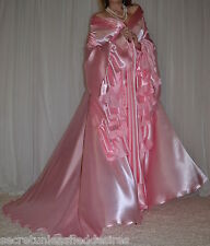 Vtg silky satin lingerie nightgown long full sweep robe negligee 2X-4X
