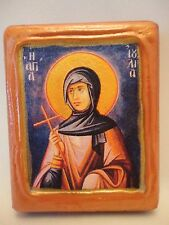 Saint Julia Ioulia Greek Orthodox Byzantine Rose Gold Prayer Icon on Pine Wood
