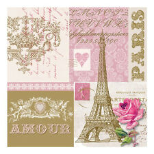 "Napkin/Beverage - ""Je t'aime Paris"" - Eiffel Tower – Gold/Pink/White -Romantic!"