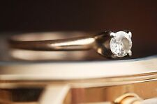 NO RESERVE round-cut diamond solitaire 14K yellow gold engagement/promise ring
