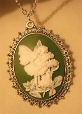 Lacy Rim Lady-Like Silvertone Green & White Fairy Flowers Cameo Pendant Necklace