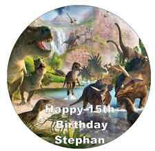 """Dinosaurs T-Rex Cake Topper Personalised  Edible Wafer Paper 7.5"""""""