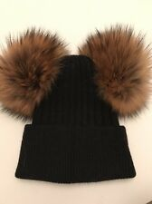 SALE NEW Womens Luxury Cashmere Double Bobble Hat With Fur Pom Pom Hat Black Fur