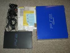 Sony PlayStation 2 Large BLACK Console Complete in Box #114 PS2 Great Shape