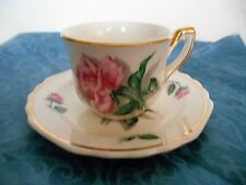 Vintage White Porcelain Deep Pink Roses Gold Gilded Small Mini Tea Cup & Saucer