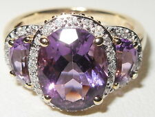 Beautiful QVC 9ct yellow gold Amethyst Trilogy & Diamond fancy cluster ring
