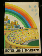 "Original 1980 Moscow Olympics ""Soyes les Bienvenus!"" Rainbow Poster"