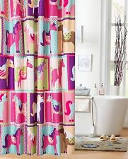 Shower Curtain For Kids Fabric Colorful Pony Patchwork Squares Print Bathroom