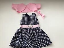 """Doll Clothes Dress/Jacket Made in USA 18"""" American Girl dolls navy/polka dots"""