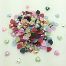 New 50pcs 10mm Heart-Shaped Pearl Bead Flat Back Scrapbook For Craft Mix Color