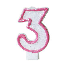 Pink Glitter Sprinkles 3 Number Candle White Premium 3rd Birthday Cake Candle