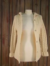 American Eagle Sweater Irish Fisherman Style Hoodie Ivory Wool Women's Size M