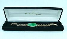 14K Gold Carved Jade Plaque Bracelet