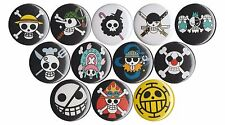 One Piece Anime Jolly Roger set of 12 pins Luffy Law Chopper Franky Pirate Flags