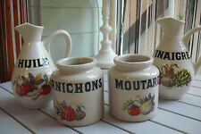 VINTAGE FRENCH STONEWARE,VINEGAR,OIL, MUSTARD, PICKLES, 4 PIECES GRESPOTS DIGOIN
