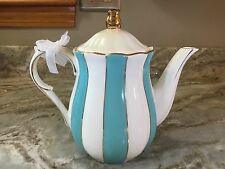 Cynthia Rowley New York Teapot. Aqua Stripes With Gold Accents. New.